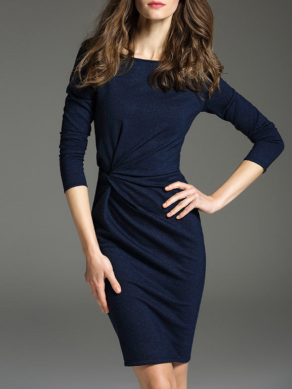 Fashion Commuting Round Neck 3/4 Sleeve Bodycon Dress