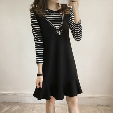 Round Neck Flounce Striped Two-Piece Shift Dress