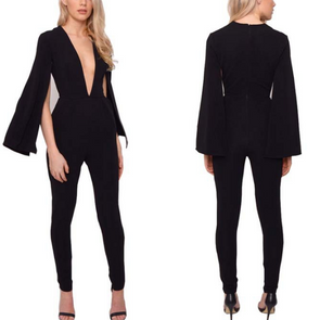 Sexy Deep V Neck Cloaks Jumpsuit