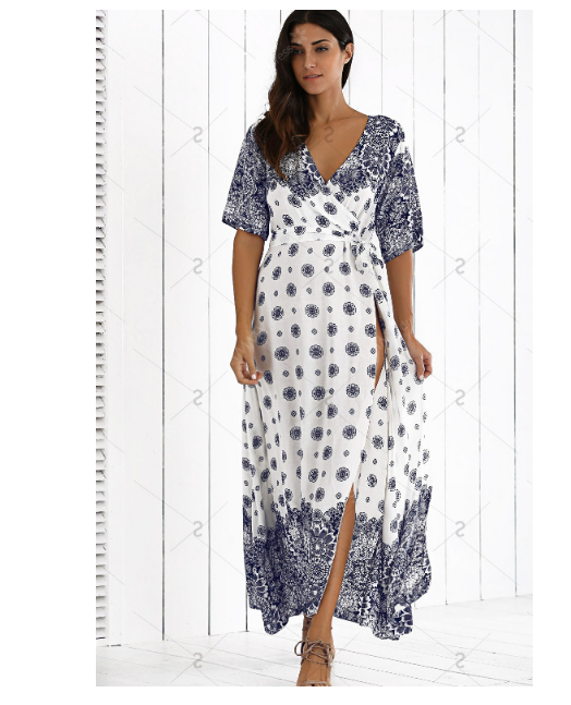 Flower Print Split Sexy Long Bohemian Dresses