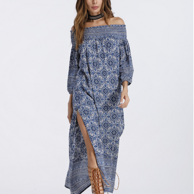Split Print Off Shoulder Long Bohemian Dresses