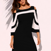 Stripe Patchwork Flounce Sleeve Vacation Dresses