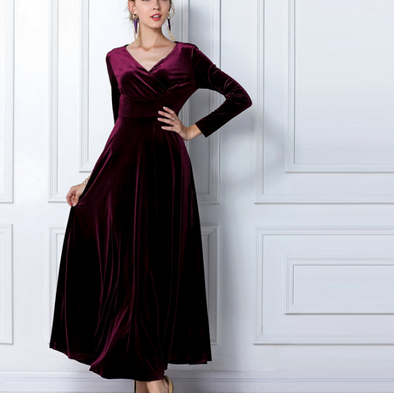 Velvet Pure Color Long Sleeve Maxi Dresses