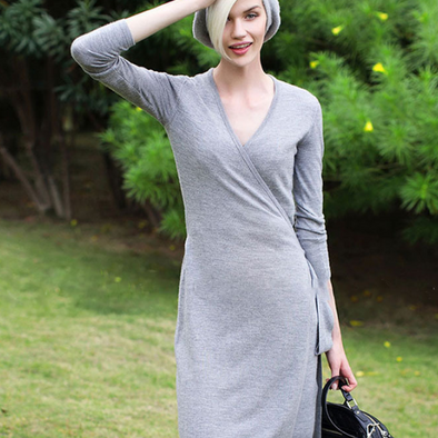 Bandage V Neck Long Sleeve Dresses