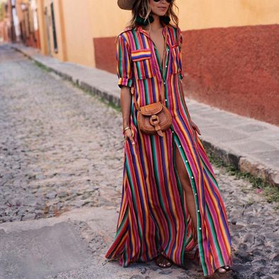 Stripe Print V Neck Short Sleeve Maxi Dresses
