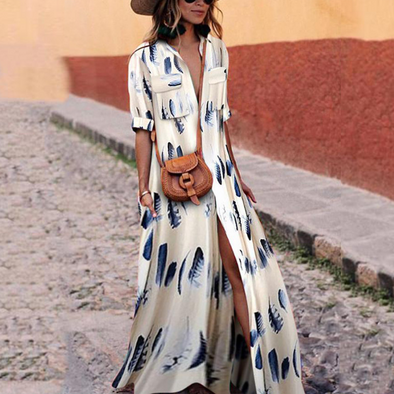 Print Split V Neck Maxi Dresses