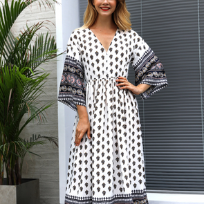 Print Patchwork V Neck 3/4 Sleeve Long Bohemian Dresses
