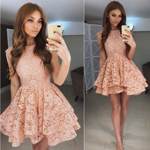 Fashion Lace Pure Color Skater Dress