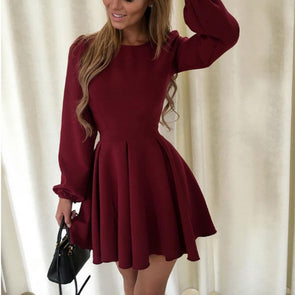 Pure Color Long Sleeve High Waist Skater Dresses