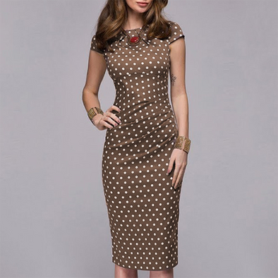 Fashion Slim Dots Short Sleeve Bodycon Dress