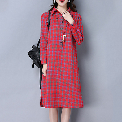Fold Over Collar Patch Pocket Single Breasted Checkered Shift Dress