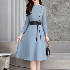 Round Neck Bowknot Decorative Button Plain Skater Dress