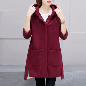 Hooded Patch Pocket Side Slit Plain Hoodies