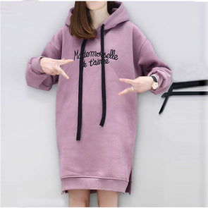 Letters Embroidery Pocket Hoodie Dress