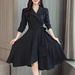 Fold Over Collar Asymmetric Hem Plain Skater Dress