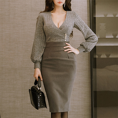 Temperament V Neck High Waist Long Sleeve Bodycon Dress