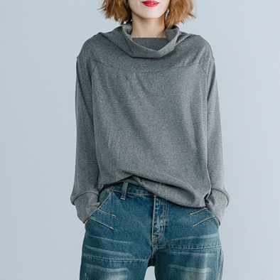 High Collar Pure Color Long Sleeve Sweatshirt