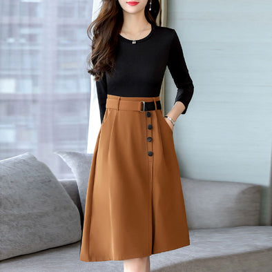 Round Neck Patch Pocket Color Block Skater Dress