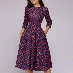 Polo Collar Floral Printed Skater Dress