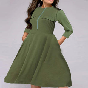 Solid Color Round Neck Skater Dresses