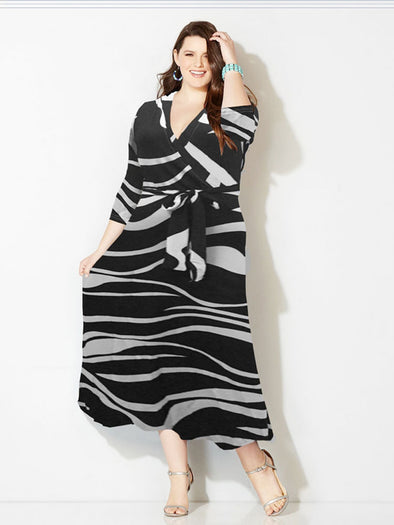 Striped Long Sleeve Bandage Plus Size Casual Dresses