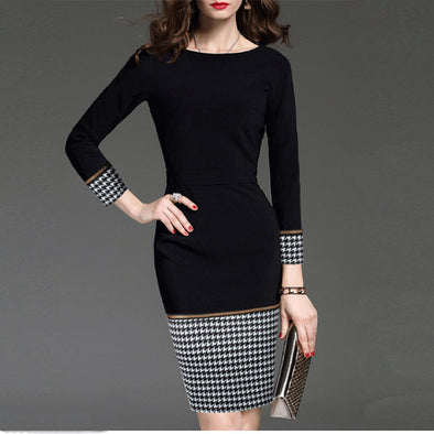 Round Collar Spell Color Thousand Bird Grid Bodycon Dress