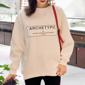 Round Neck Loose Fitting Letters Batwing Sleeve Hoodie
