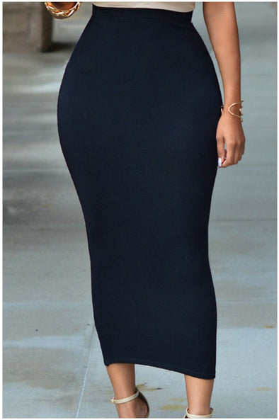 casual Solid Color high waist maxi bodycon skirts