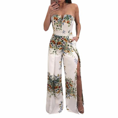 Sexy Sleeveless Off Shoulder Print Split Jumpsuits