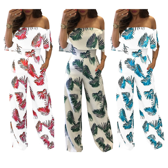 Fashion Off Shoulder Short Sleeve Print Jumpsuits
