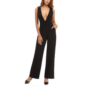 Sexy Deep V Collar Solid Color Sleeveless Jumpsuit With Pockets