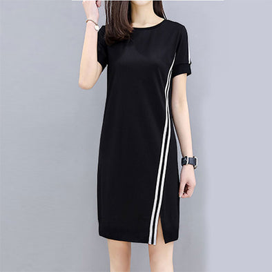 Round Neck Side Slit Color Block Shift Dress