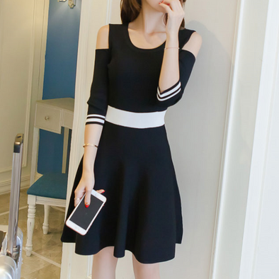 Open Shoulder Color Block Skater Dresses
