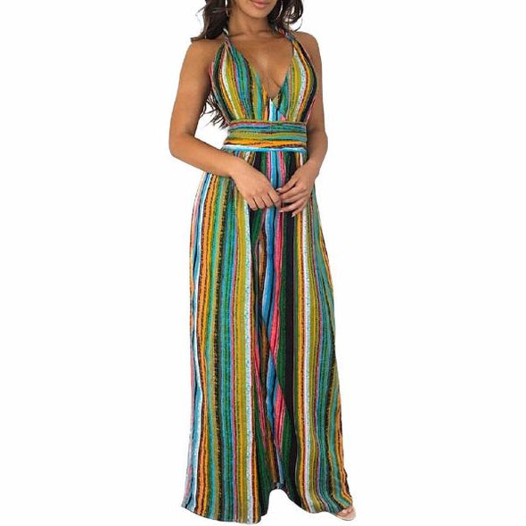 Fashion Sleeveless Stripe Spaghetti Neck Jumpsuits