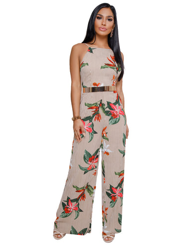 Fashion Spaghetti Neck Sleeveless Print Jumpsuits