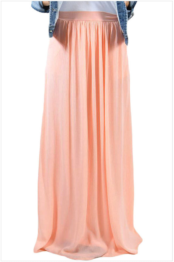 casual Solid Color high waist maxi skirts