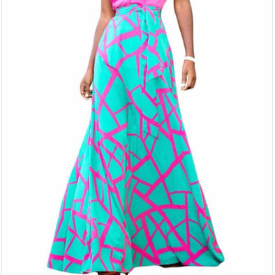 fashion casual  print maxi high waist skirts