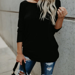 Backless Loose Solid Color V- neck Long Sleeve Sweaters