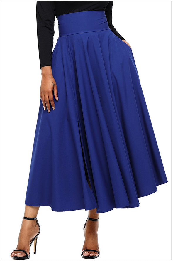 fashion Solid Color high waist maxi skirts