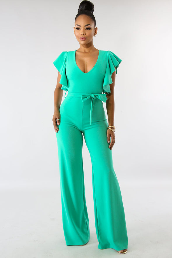 Casual Solid Color Short Sleeve Bell Sleeve Jumpsuits