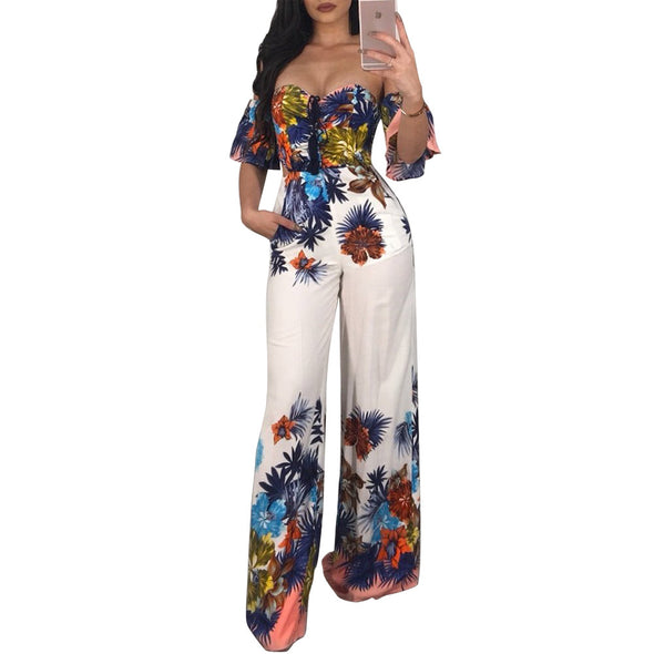 Fashion Short Sleeve Print V-neck Jumpsuits