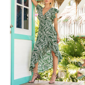 Irregular Printed V Collar Long Vacation Dress