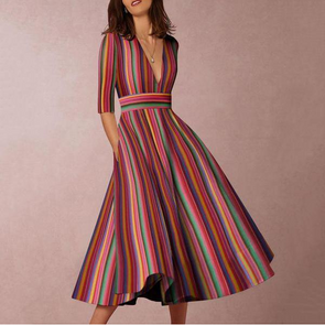 Multicolor Sexy Deep V-Neck Vertical Striped Midi Skater Dress