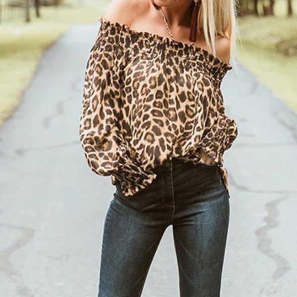 Sexy Wooden Ear Leopard Print Off Shoulder Blouses