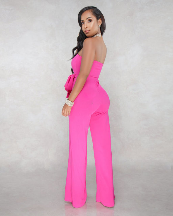 Fashion Solid Color Off Shoulder Sleeveless Jumpsuits