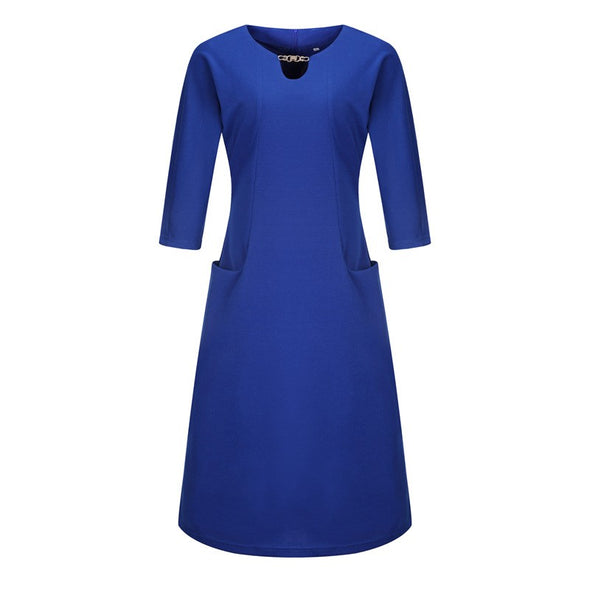 3/4 Sleeve Solid Color Plus size casual Dresses
