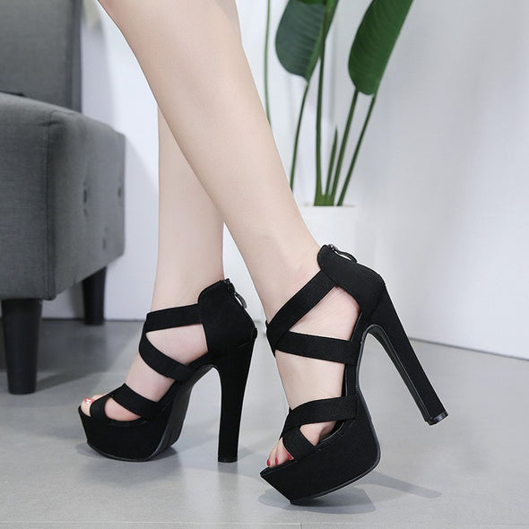 Black High heeled Peep Toe Bar Sandals