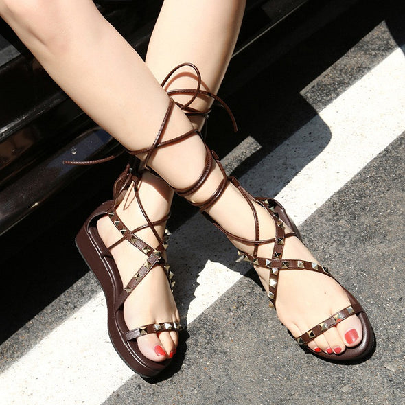 Rivet Bandage Casual Peep Toe Flat Sandals