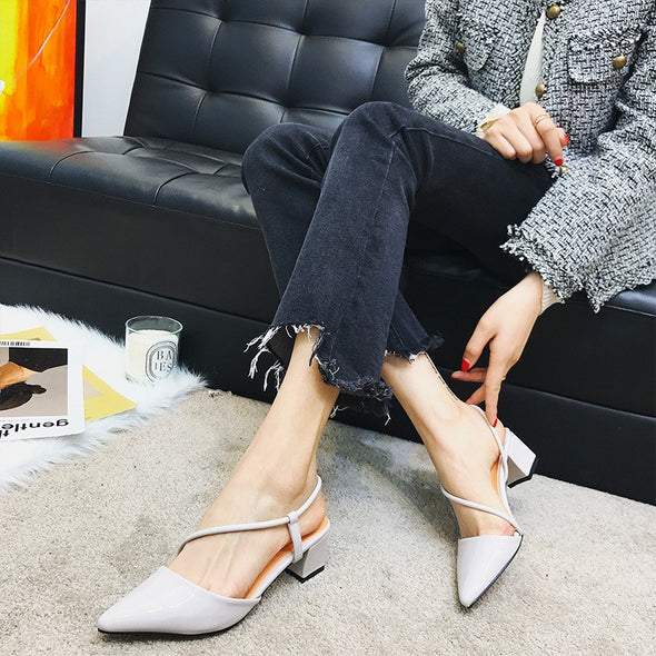 Solid Color Point Toe Mid Women Heels