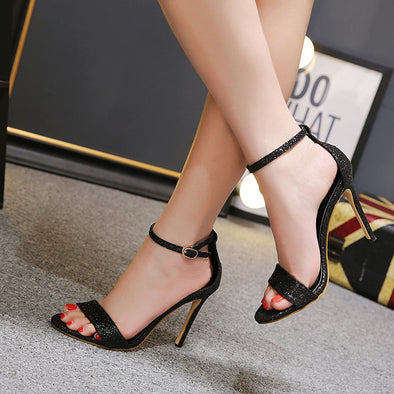 Tuck Lock High heeled Peep Toe Bar Sandals